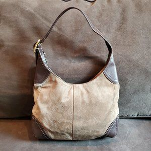 Coach Brown Leather/Olive Green Suede Hobo Bag